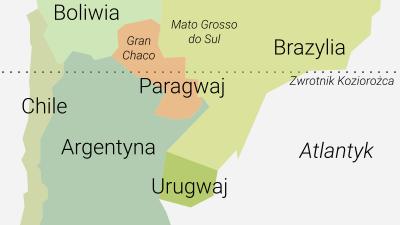 Mapa konfliktu wojennego, podczas którego powstał zwyczaj picia yerby na zimno