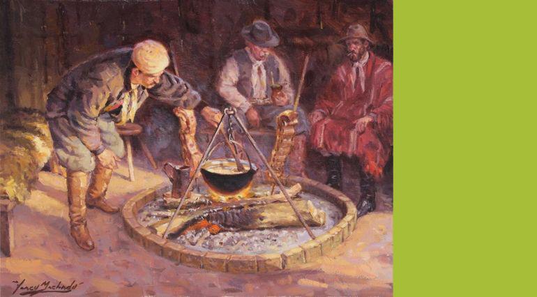 Obraz przedstawiający gauchos przy asado iyerbie