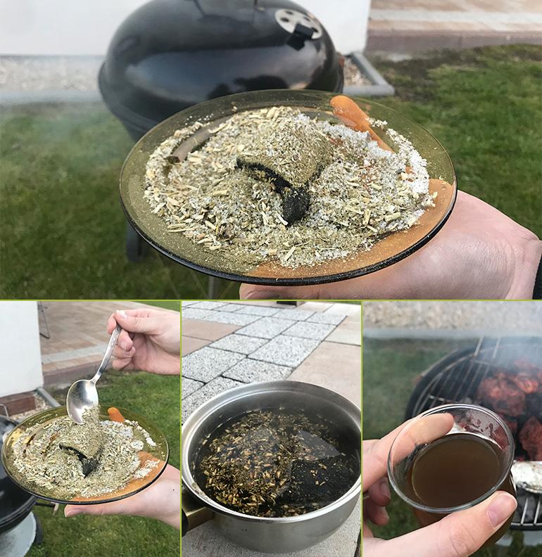 Proces przygotowania mate cocido quemado z węgielkiem