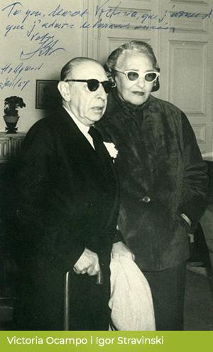 Fotografia ze spotkania Victorii Ocampo iIgora Strawińskiego