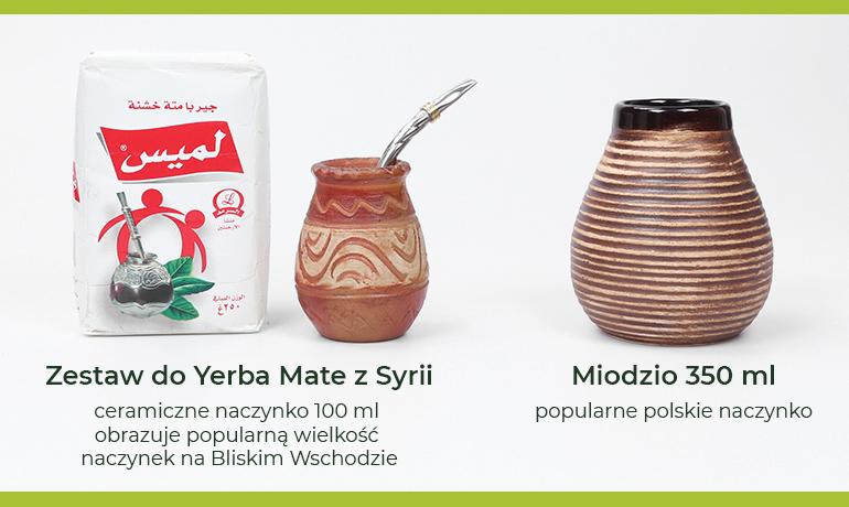 Zestaw do picia yerby zSyrii zmałym naczynkiem 100 ml. Obok popularne wPolsce naczynie ceramiczne Miodzio 350 ml.